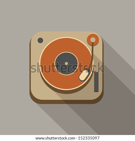 Retro vintage record player icons - stock vector
