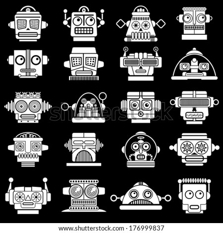 Retro Vintage Robot heads on black background - stock vector