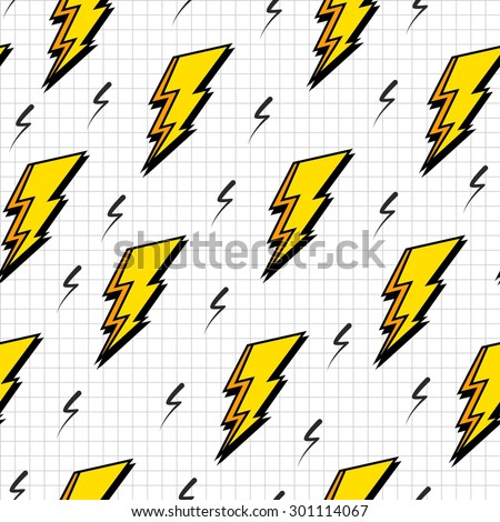 Retro vintage 80s lightning bolts fashion style seamless pattern illustration background. Ideal for fabric design, paper print and website backdrop. EPS10 vector file. - stock vector