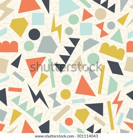Retro vintage 80s memphis geometric fashion style seamless pattern illustration background. Ideal for fabric design, paper print and website backdrop. EPS10 vector file. - stock vector