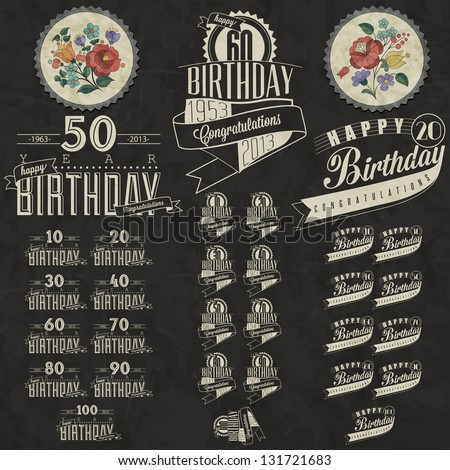 Retro Vintage style Birthday greeting card collection in calligraphic design. Vintage calligraphic and typographic style Happy Birthday hand lettering collection. Vector. Hungarian flowers elements. - stock vector