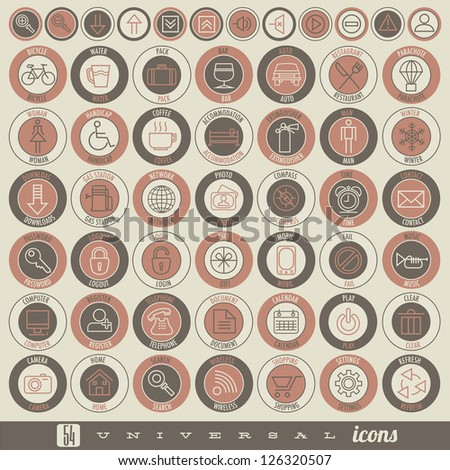 Retro Vintage style Icon collection. Universal icons illustration with name tag. Hand drawing outline style icons for web, mobile and other design. - stock vector