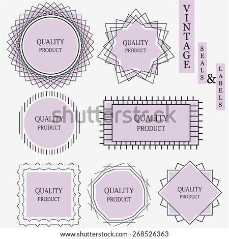 Retro vintage style line seals, labels and frames, eps10 Vector. - stock vector