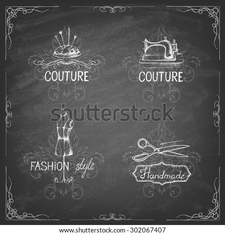 Retro vintage style. Set of tailor labels, emblems and design elements on the blackboard . Vector illustration. Logo. - stock vector