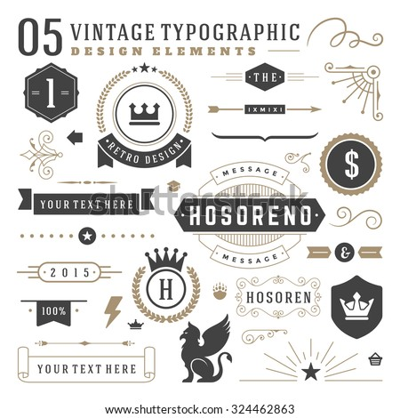 Retro vintage typographic design elements. Arrows, labels, ribbons, logos symbols, crowns, calligraphy swirls, ornaments and other.  - stock vector