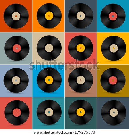 Retro, Vintage Vector Vinyl Record Disc Set on Colorful Background - stock vector