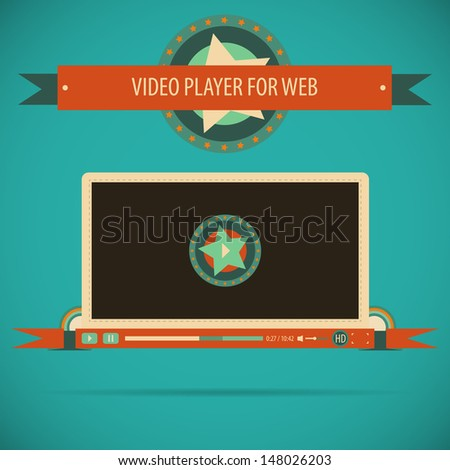 Retro vintage video player interface for web. Vector illustration. - stock vector