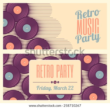 Retro, vintage vinyl record banners or flyers. Two retro music templates. Soft colored design elements - stock vector