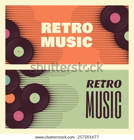 Retro, vintage vinyl record banners. Two retro music templates - stock vector