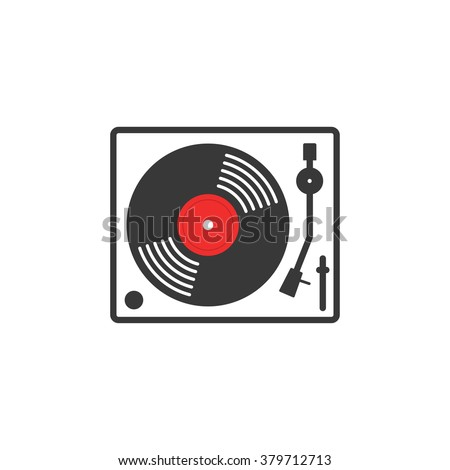Retro vinyl music player vector icon, vinyl record player flat outline linear style, record turntable logo, thin line modern emblem design, illustration isolated on white background - stock vector