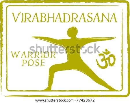 Retro Virabhadrasana Yoga Warrior Pose in Passport Stamp Style Vector Illustration - stock vector
