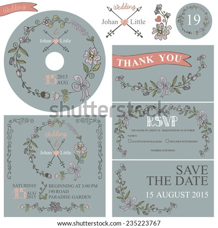 Retro wedding design template set with floral decor,ribbons,arrows,border. Cute doodles flowers wreath in retro style.Wedding invitation,cd,dvd,Thank card,RSVP card.Vector - stock vector