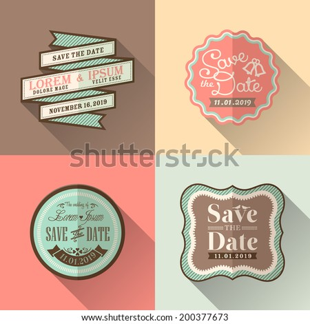 Retro Wedding frame flat design icon set for tag label sticker badge - stock vector