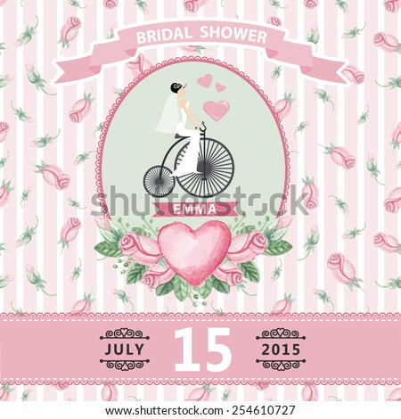 Retro wedding invitation.Bridal shower design template with watercolor roses bud,bouquet, bride on retro  bicycle.Decorative hand drawing floral decor,label,ribbons.Cute Vector  illustration - stock vector