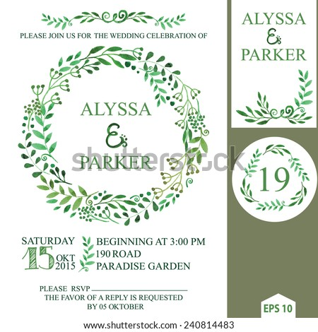 Retro wedding invitation design template with watercolor green branches,leaves wreath,laurels.Decorative hand drawing floral decor,swirling border.Vector vintage invitation card,number - stock vector