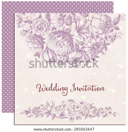 Retro wedding invitation, floral decorations - stock vector