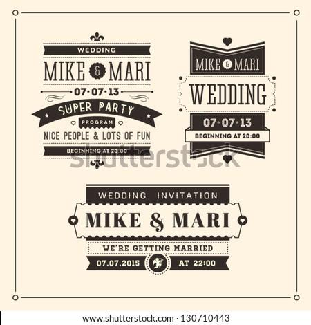 Retro Weddings Invitations - stock vector