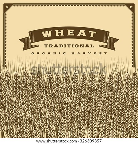 Retro wheat harvest card brown. Editable vector illustration with clipping mask. - stock vector