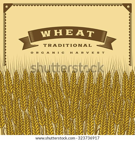 Retro wheat harvest card. Editable vector illustration with clipping mask. - stock vector