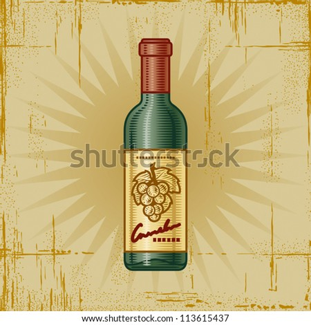 Retro Wine Bottle. Vector - stock vector