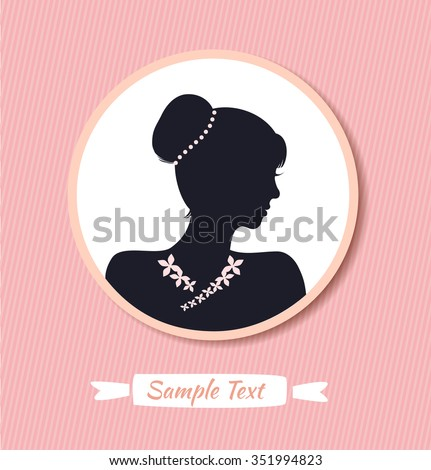 Retro woman head silhouette in round frame. Vector Isolated woman half face. Vintage lady portrait - stock vector