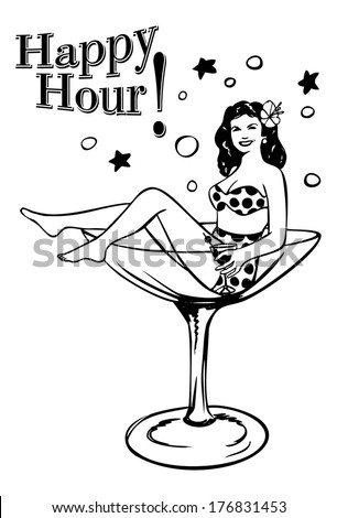 Retro woman in a glass, vector - stock vector