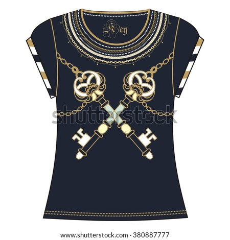Retro woman  t-shirt print design of heraldic key and chain gold blue color. Fashion necklace jewelry  vintage pattern grunge, steampunk, marine style  - stock vector.  - stock vector