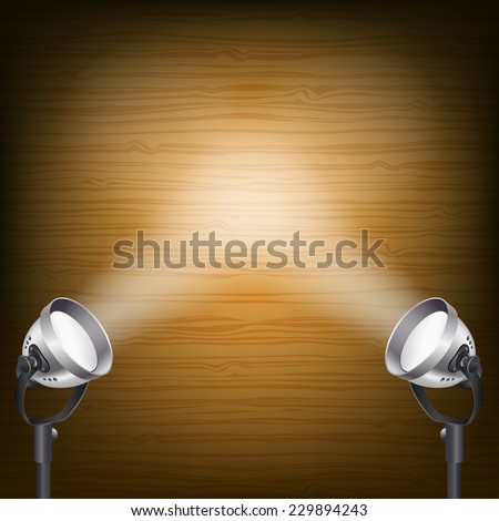 retro wooden background with spot lights - stock vector