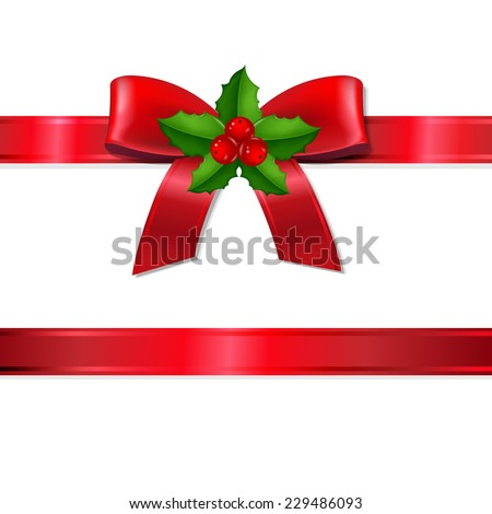 Retro Xmas Ribbon With Holly Berry With Gradient Mesh, Vector Illustration - stock vector