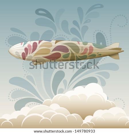 Retro zeppelin, eps10 vector - stock vector