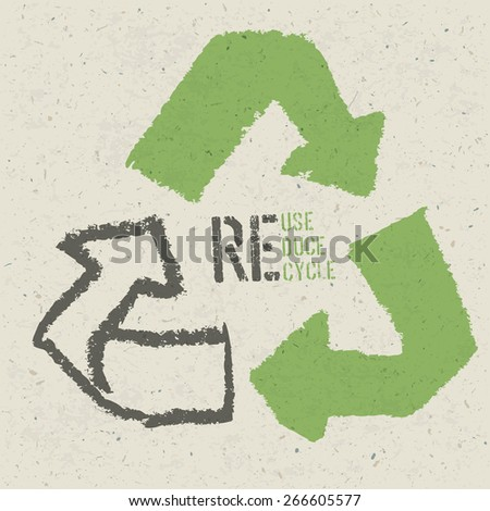 "Reuse conceptual symbol and ""Reuse, Reduce, Recycle"" text on Recycled Paper Texture - stock vector"