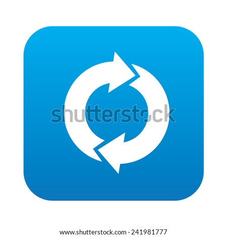 Reuse icon on blue button background,clean vector - stock vector