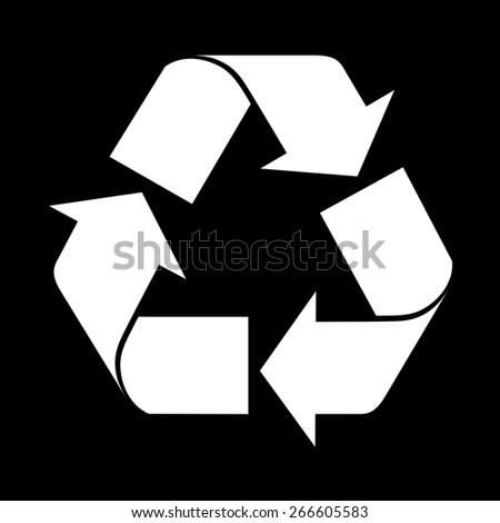 Reuse symbol, isolated on black - stock vector