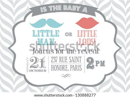 reveal the gender baby shower invitation template vector/illustration - stock vector
