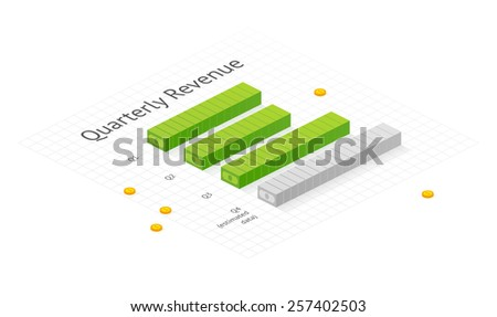 Revenue chart. Isometric dollar bar graph. EPS 10. RGB. Transparencies - stock vector