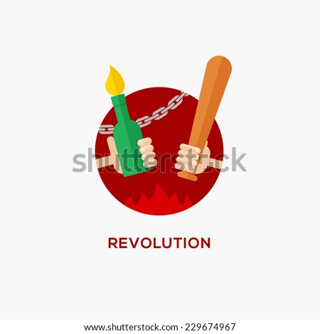Revolution design concept. Symbol of protest. Hand with baseball bat and Molotov cocktail, flat design, vector illustration - stock vector