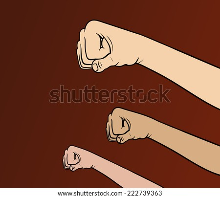 Revolution fists - stock vector