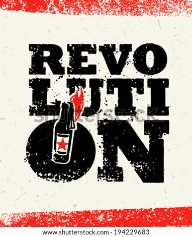 Revolution Grunge Molotov Cocktail Creative Typography Vector Concept on Paper Background - stock vector
