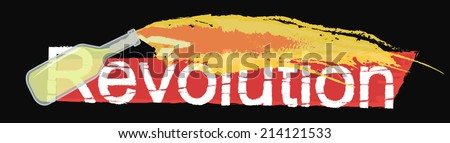Revolution grunge scratched logo with flying burning molotov cocktail isolated on black  - stock vector