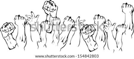 Revolution Hands Up - stock vector