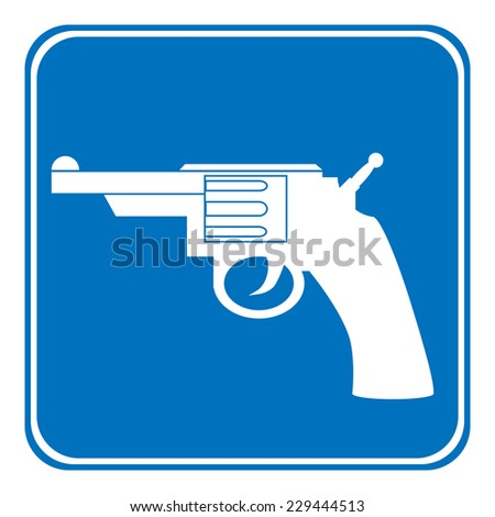 Revolver allowing sign on white background. Vector illustration. - stock vector