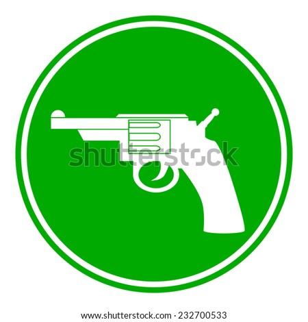 Revolver button on white background. Vector illustration. - stock vector