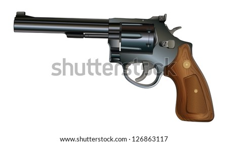 Revolver is an illustration of a revolver style handgun. Black with wood grip. - stock vector