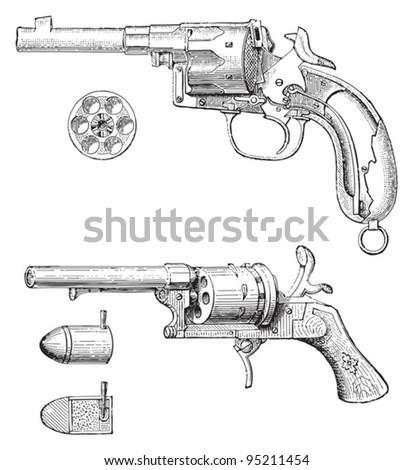 Revolver / vintage illustration from Meyers Konversations-Lexikon 1897 - stock vector