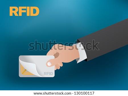 rfid card technologies. - stock vector