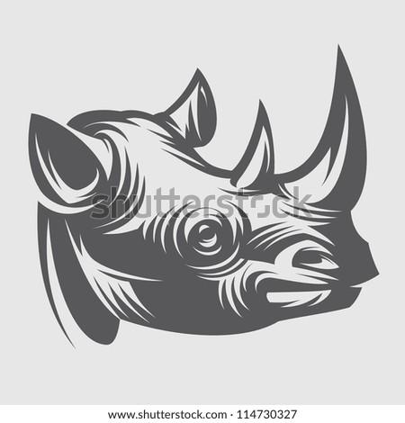 Rhino head - stock vector