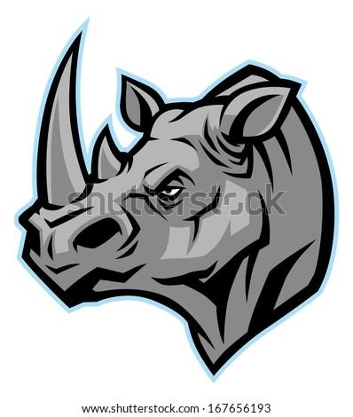 rhino head mascot - stock vector