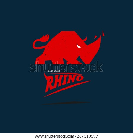 rhino logo desgin concept - vector illustration - stock vector