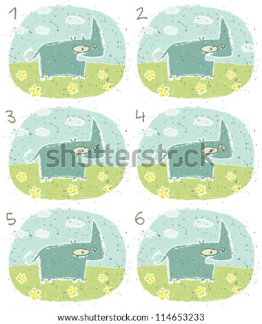 Rhino Puzzle ... Task: Find two identical images (match the pair)! ... Answer: No. 3 and 6 - stock vector
