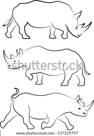 Rhino silhouette line drawings - vector set of three - stock vector